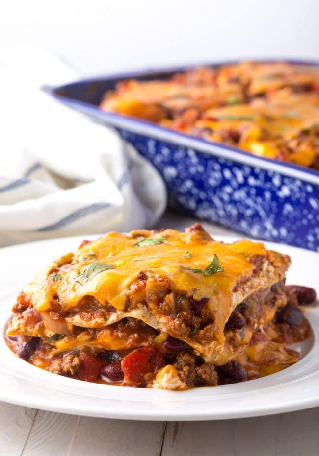 Hearty Cowboy Chili Lasagna Recipe #ASpicyPerspective #lasagna #cowboy #chili