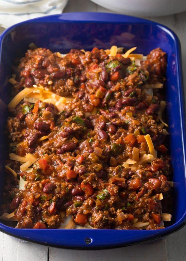 Layer 3 - Cowboy Chili Lasagna Recipe #ASpicyPerspective #lasagna #cowboy #chili