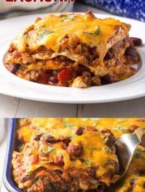 Cheesy Cowboy Chili Lasagna Recipe #ASpicyPerspective #lasagna #cowboy #chili