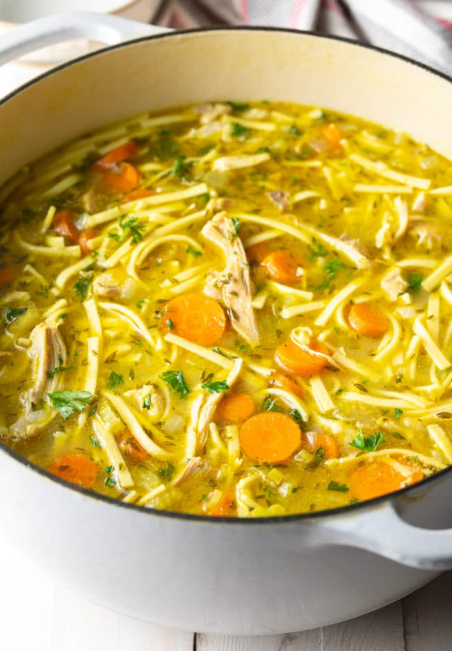 Homemade Chicken Noodle Soup Recipe #ASpicyPerspective #Chicken #soup #chickensoup #noodle #best #comfortfood