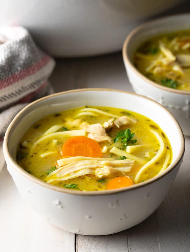 Perfect Homemade Chicken Noodle Soup Recipe #ASpicyPerspective #Chicken #soup #chickensoup #noodle #best #comfortfood