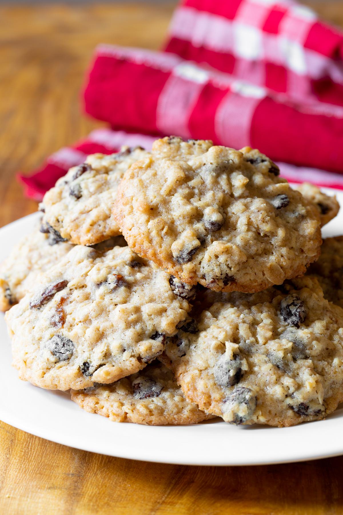 Homemade plate full of this oatmeal raisin cookie recipe