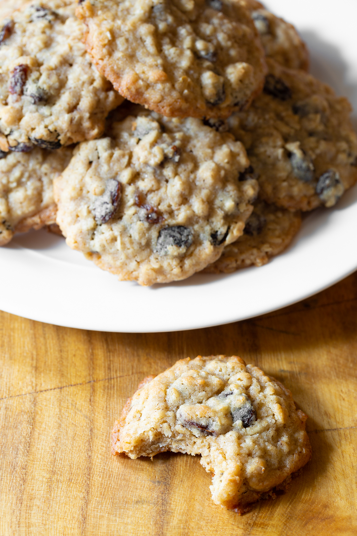 A plate full of these soft and chewy oatmeal raisin cookies recipe