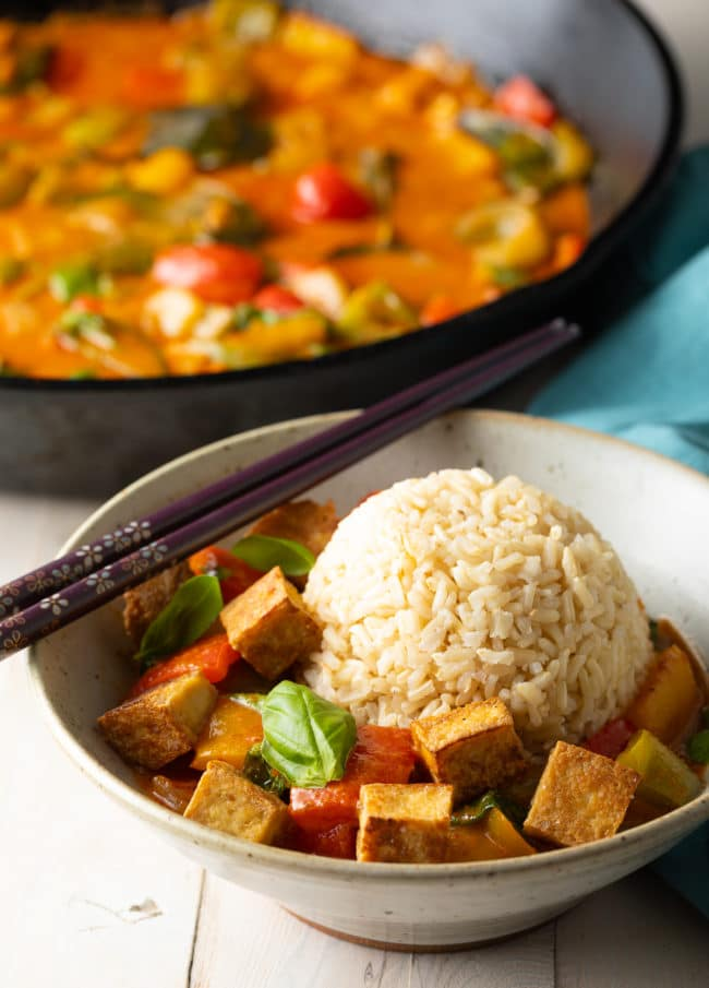 Vegetarian Panang Curry Recipe with Crispy Tofu #ASpicyPerspective #vegetarian #curry #thai #tofu #asian #healthy #glutenfree