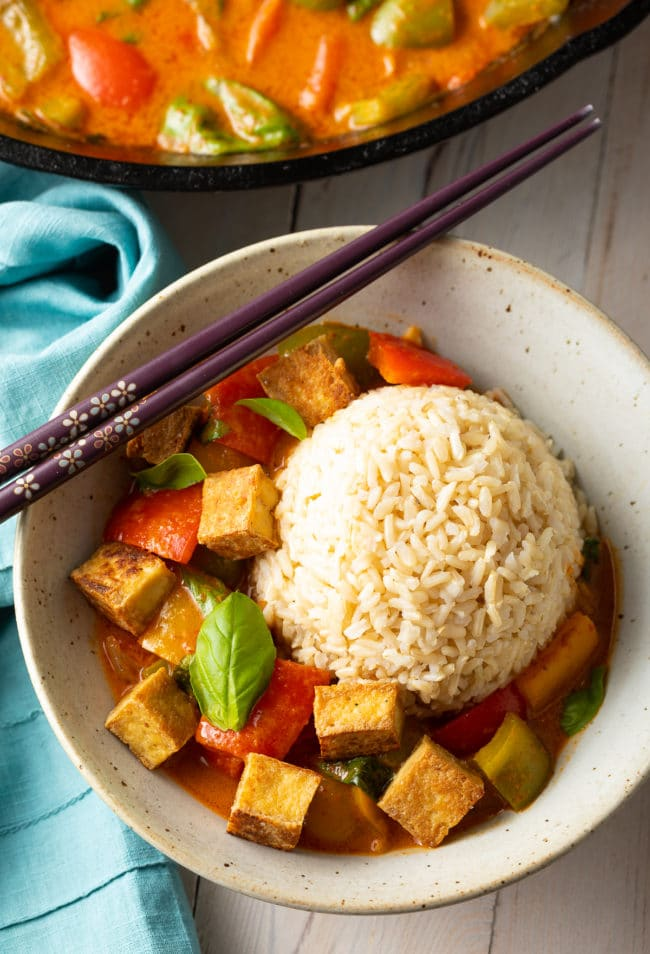 Healthy Panang Curry Recipe with Crispy Tofu #ASpicyPerspective #vegetarian #curry #thai #tofu #asian #healthy #glutenfree