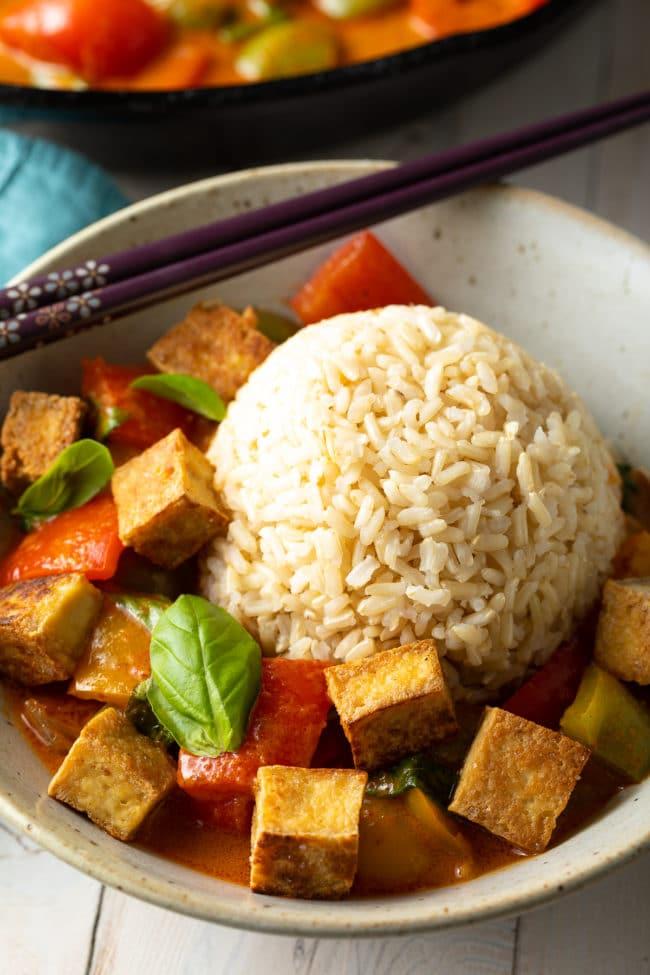 Panang Curry Recipe with Crispy Tofu #ASpicyPerspective #vegetarian #curry #thai #tofu #asian #healthy #glutenfree