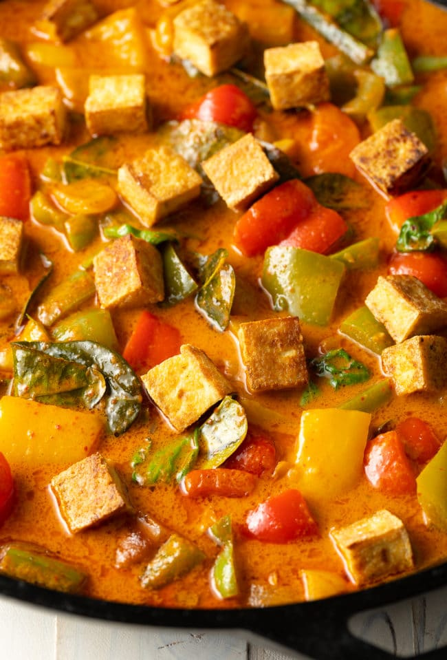 Thai Panang Curry Recipe with Crispy Tofu #ASpicyPerspective #vegetarian #curry #thai #tofu #asian #healthy #glutenfree