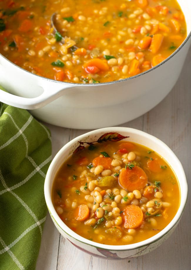 Vegetarian Bean Soup Recipe #ASpicyPerspective #vegetarian #vegan #bean #soup #glutenfree #dairyfree