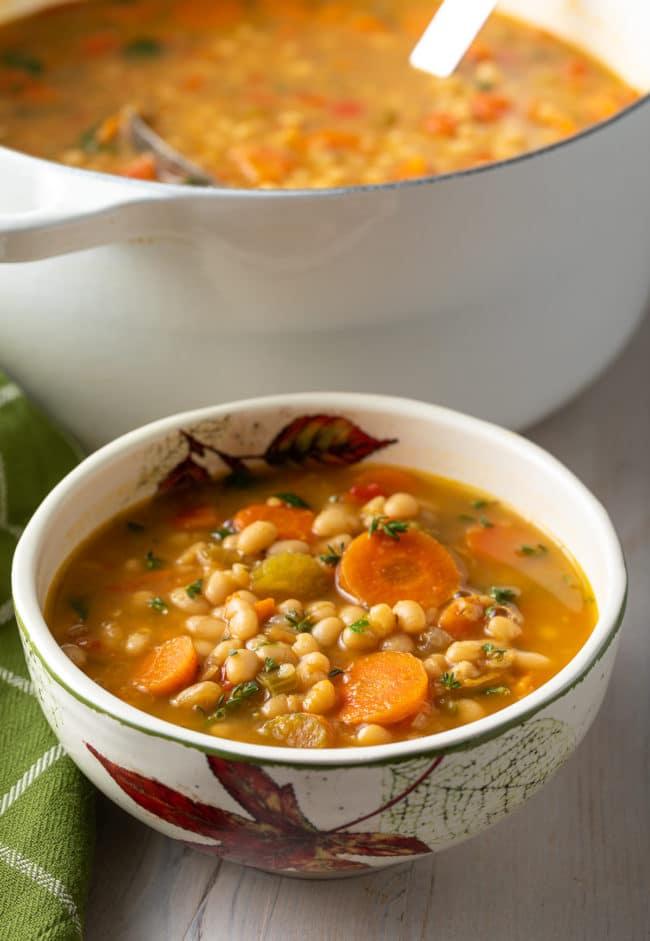 Best Vegetarian Navy Bean Soup Recipe #ASpicyPerspective #vegetarian #vegan #bean #soup #glutenfree #dairyfree