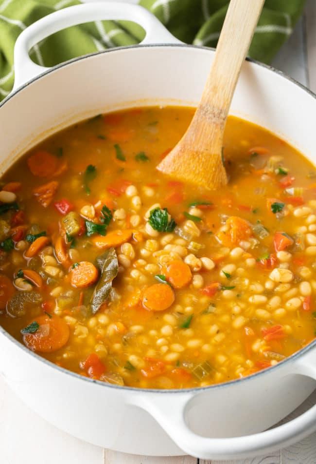 Best Vegan Navy Bean Soup Recipe #ASpicyPerspective #vegetarian #vegan #bean #soup #glutenfree #dairyfree