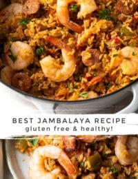 The Best Jambalaya Recipe (Gluten Free!) #ASpicyPerspective #glutenfree #healthy #cajun #shrimp #chicken #sausage #rice #onepot