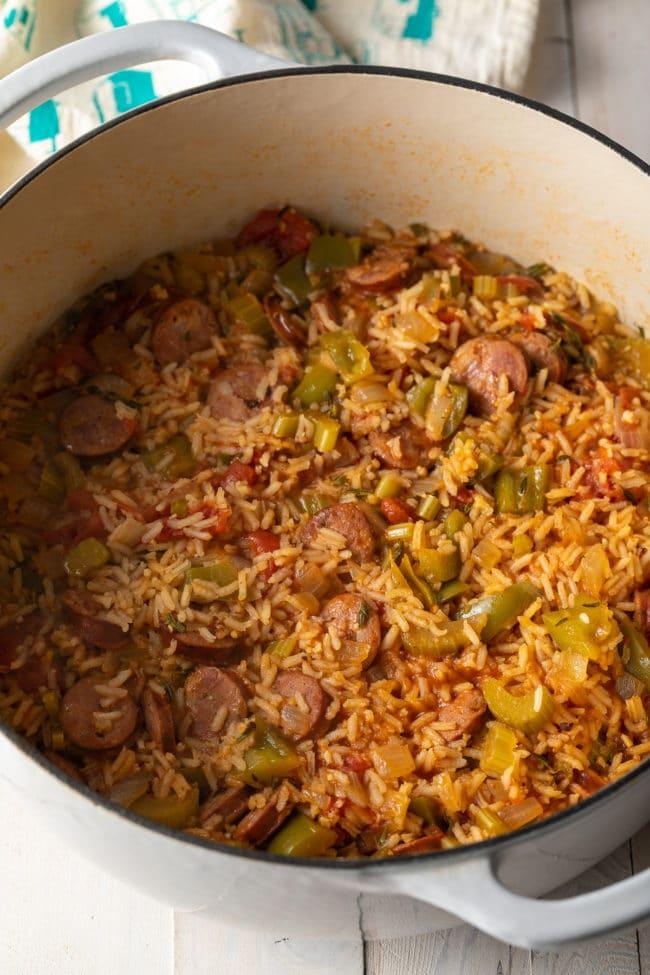 Perfect Jambalaya Recipe (Gluten Free!) #ASpicyPerspective #glutenfree #healthy #cajun #shrimp #chicken #sausage #rice #onepot