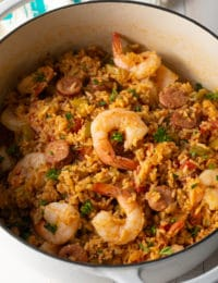 Jambalaya Recipe (Gluten Free!) #ASpicyPerspective #glutenfree #healthy #cajun #shrimp #chicken #sausage #rice #onepot