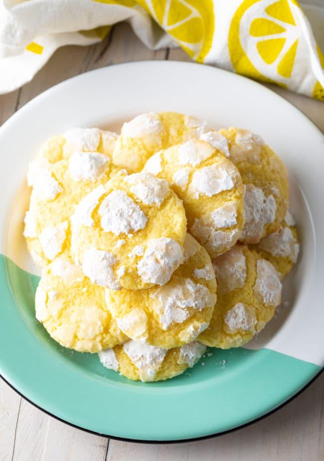 Pillowy Lemon Crinkle Cookies Recipe #ASpicyPerspective #cookies #lemon #christmas #easter #best #easy