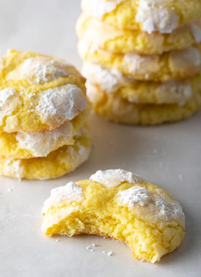 Soft Lemon Crinkle Cookies Recipe #ASpicyPerspective #cookies #lemon #christmas #easter #best #easy