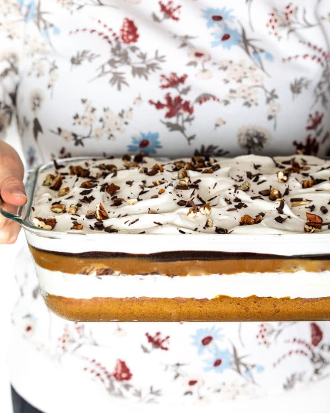 Holiday Layered Pumpkin Turtle Cheesecake Recipe #ASpicyPerspective #pumpkin #cheesecake #caramel #chocolate #holiday