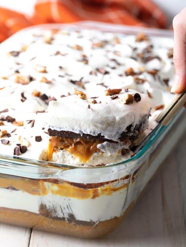 Fluffy Pumpkin Turtle Cheesecake Recipe #ASpicyPerspective #pumpkin #cheesecake #caramel #chocolate #holiday