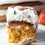Easy Layered Pumpkin Turtle Cheesecake Recipe #ASpicyPerspective #pumpkin #cheesecake #caramel #chocolate #holiday