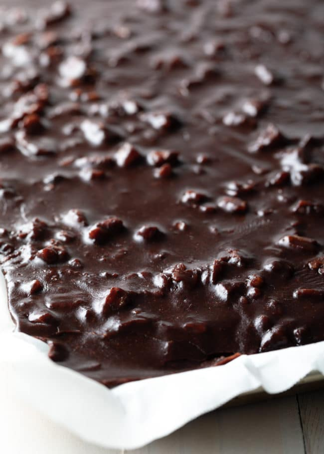 Original Texas Sheet Cake Recipe #ASpicyPerspective #chocolate #cake #sheetcake #texas #pecan #tailgating #holiday #party #bakesale
