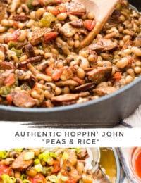 Hoppin' John Recipe #ASpicyPerspective #peas #rice #blackeyedpeas #southern #newyears