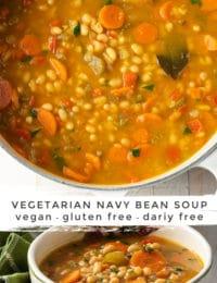 Best Navy Bean Soup Recipe #ASpicyPerspective #vegetarian #vegan #bean #soup #glutenfree #dairyfree