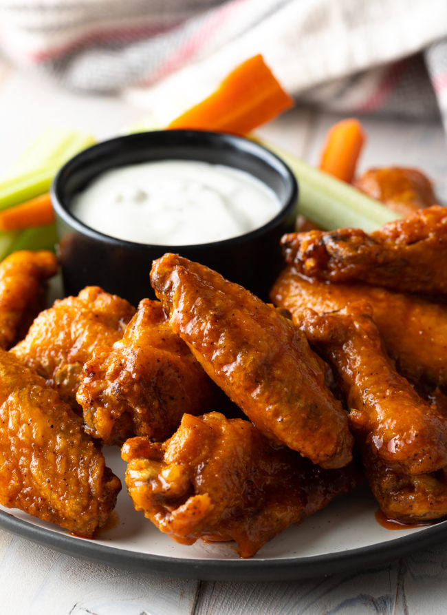 Crispy Baked Hot Wings Recipe (Learn How to Make the BEST Baked Chicken Wings in the Oven!) #ASpicyPerspective #chicken #wings #hot #buffalo #baked #crispy #best #superbowl #party