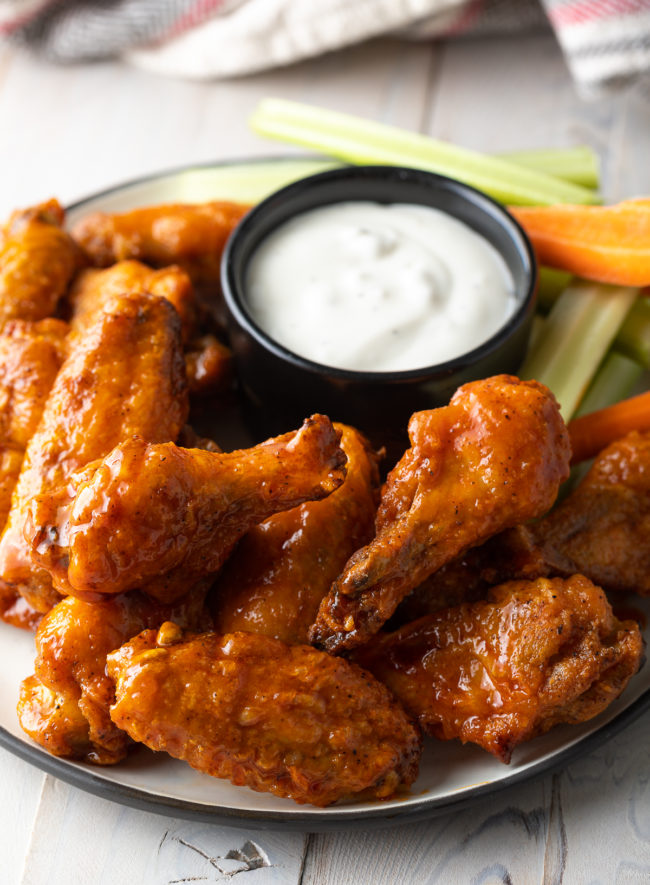 Buffalo Chicken Wings Recipe (Learn How to Make the BEST Baked Chicken Wings in the Oven!) #ASpicyPerspective #chicken #wings #hot #buffalo #baked #crispy #best #superbowl #party