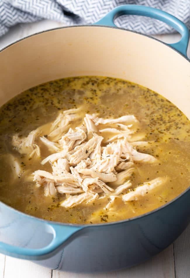 Chicken Soup with Lemon Recipe (Low Carb) #ASpicyPerspective #chicken #soup #chickensoup #creamy #keto #lowcarb #lemon #parmesan #spinach
