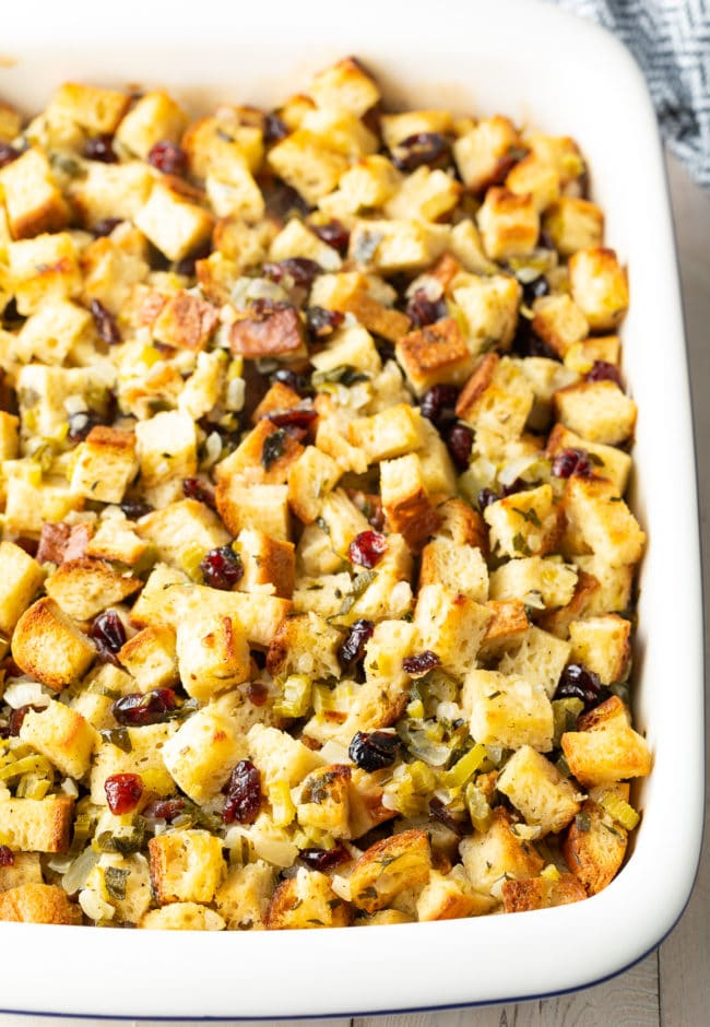 Fluffy Gluten Free Thanksgiving Stuffing Recipe #ASpicyPerspective #glutenfree #vegetarian #stuffing #dressing #holiday #thanksgiving #christmas
