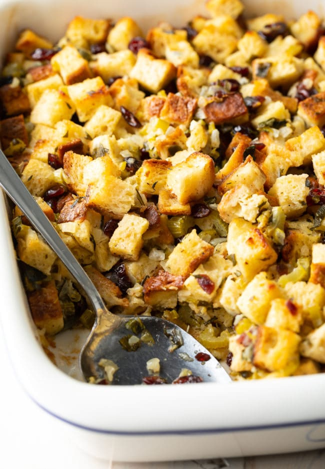 Amazing Thanksgiving Stuffing Recipe #ASpicyPerspective #glutenfree #vegetarian #stuffing #dressing #holiday #thanksgiving #christmas