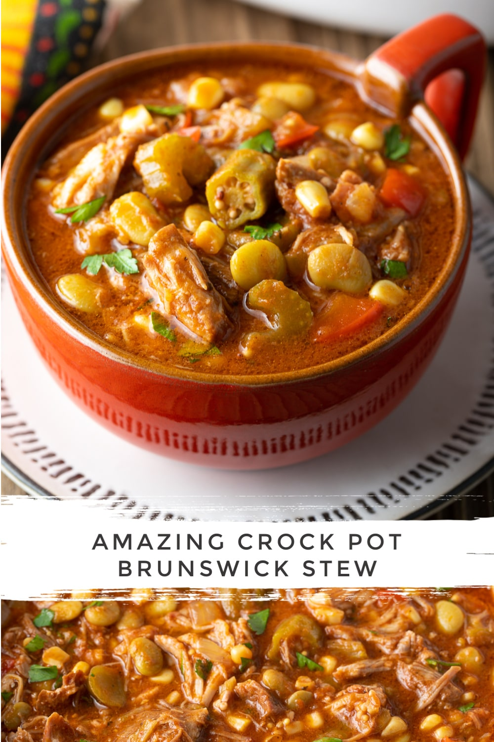 Easy Slow Cooker Brunswick Stew Recipe #ASpicyPerspective #brunswick #stew #crockpot #fall #bbq