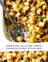 Amazing Gluten Free Stuffing Recipe (Thanksgiving!) #ASpicyPerspective #glutenfree #vegetarian #stuffing #dressing #holiday #thanksgiving #christmas