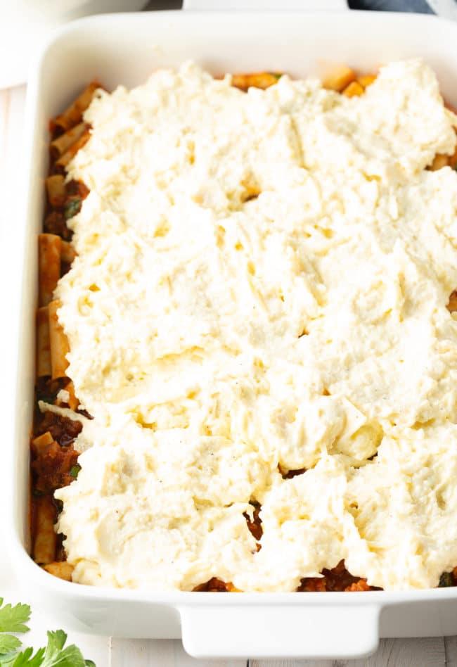 Ricotta Filling - Baked Ziti with Sausage Recipe #ASpicyPerspective #baked #ziti #noboil #ricotta #pasta #italian #comfortfood #slowcooker #crockpot