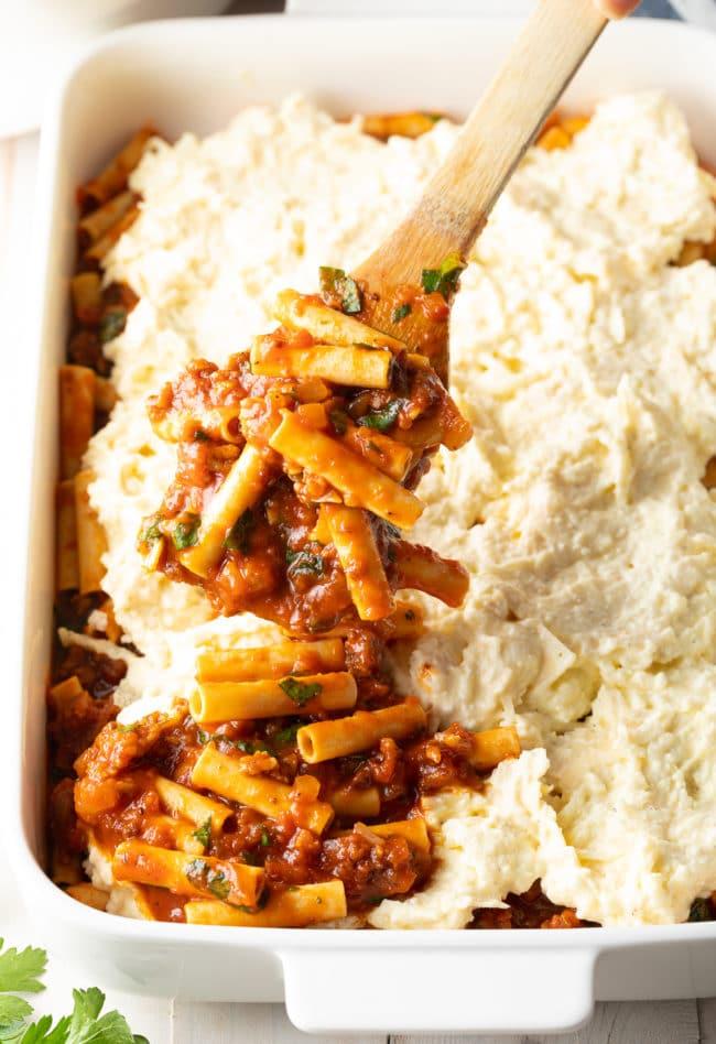 Ricotta Baked Ziti Recipe #ASpicyPerspective #baked #ziti #noboil #ricotta #pasta #italian #comfortfood #slowcooker #crockpot