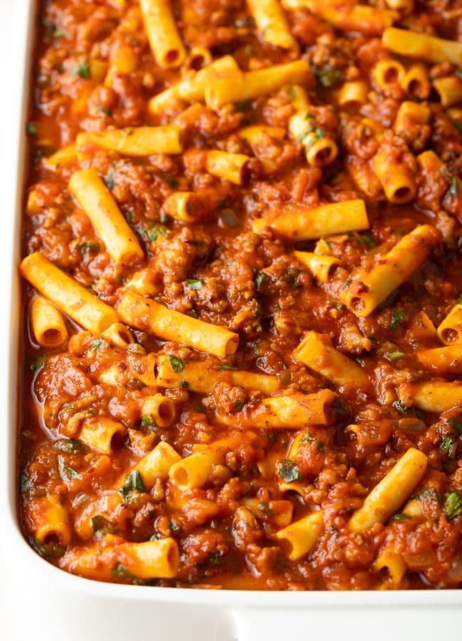 Baked Ziti with Sausage Recipe #ASpicyPerspective #baked #ziti #noboil #ricotta #pasta #italian #comfortfood #slowcooker #crockpot