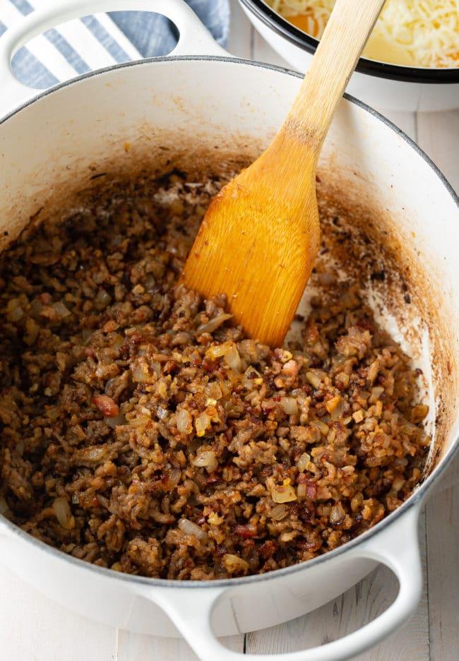 How To Make Ricotta Baked Ziti with Sausage Recipe #ASpicyPerspective #baked #ziti #noboil #ricotta #pasta #italian #comfortfood #slowcooker #crockpot