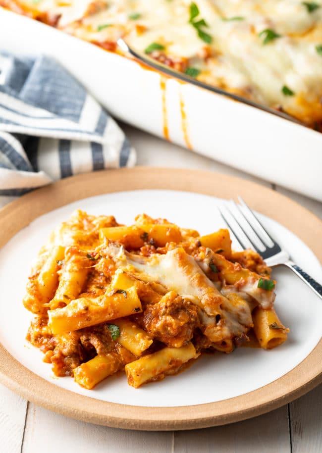 Slow Cooker Ricotta Baked Ziti with Sausage Recipe #ASpicyPerspective #baked #ziti #noboil #ricotta #pasta #italian #comfortfood #slowcooker #crockpot