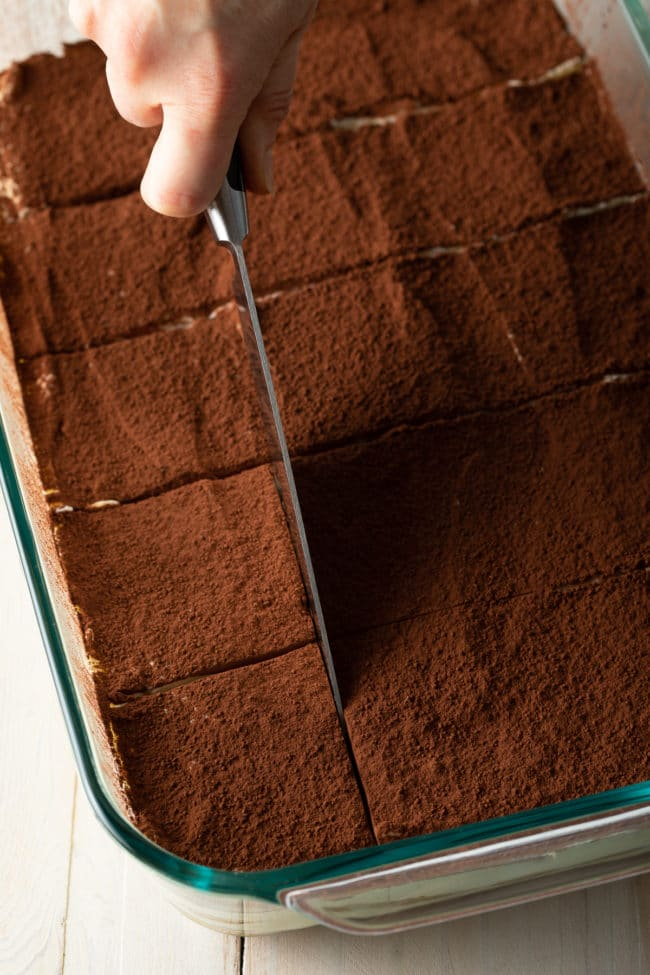 Cutting Tiramisu (Recipe & VIDEO) #ASpicyPerspective #italian #mascarpone #espresso #holiday #dessert #cake #coffee #cocoa #rum