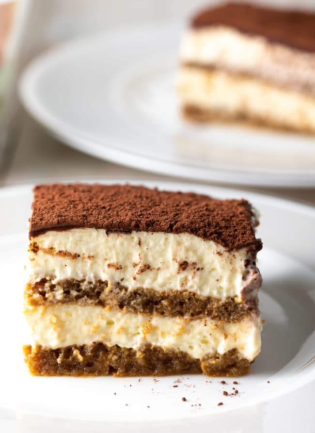 Easy Tiramisu Recipe #ASpicyPerspective #italian #mascarpone #espresso #holiday #dessert #cake #coffee #cocoa #rum