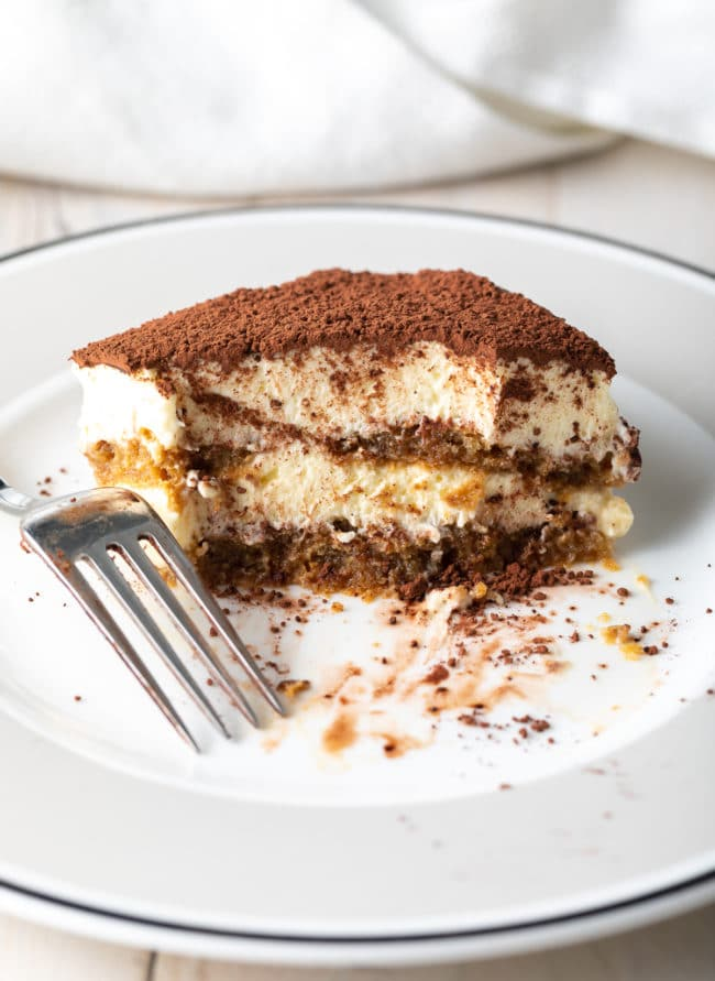 Perfect Easy Tiramisu Recipe #ASpicyPerspective #italian #mascarpone #espresso #holiday #dessert #cake #coffee #cocoa #rum