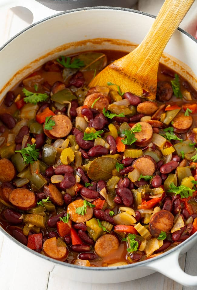 Best Red Beans and Rice Recipe #ASpicyPerspective #rice #beans #southern #glutenfree #comfortfood #sausage