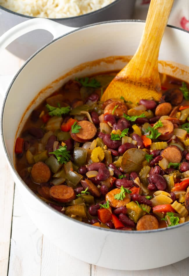 Louisiana Red Beans and Rice (Recipe) #ASpicyPerspective #rice #beans #southern #glutenfree #comfortfood #sausage