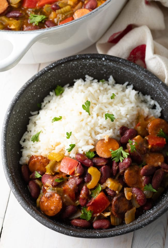 Easy Beans and Rice (Recipe) #ASpicyPerspective #rice #beans #southern #glutenfree #comfortfood #sausage