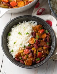 Easy Red Beans and Rice Recipe #ASpicyPerspective #rice #beans #southern #glutenfree #comfortfood #sausage