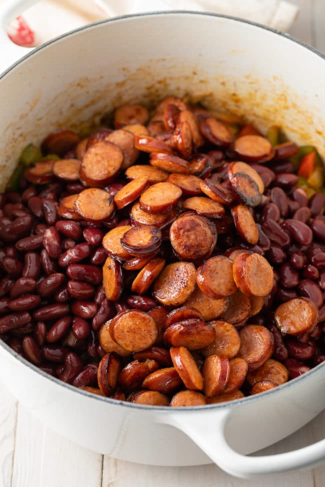 Red Beans and Rice with Sausage (Recipe) #ASpicyPerspective #rice #beans #southern #glutenfree #comfortfood #sausage