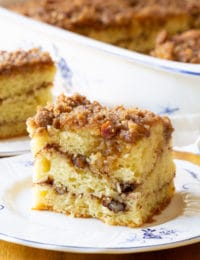 Cinnamon Sour Cream Coffee Cake Recipe #ASpicyPerspective #coffee #cake #snack #breakfast #holidays