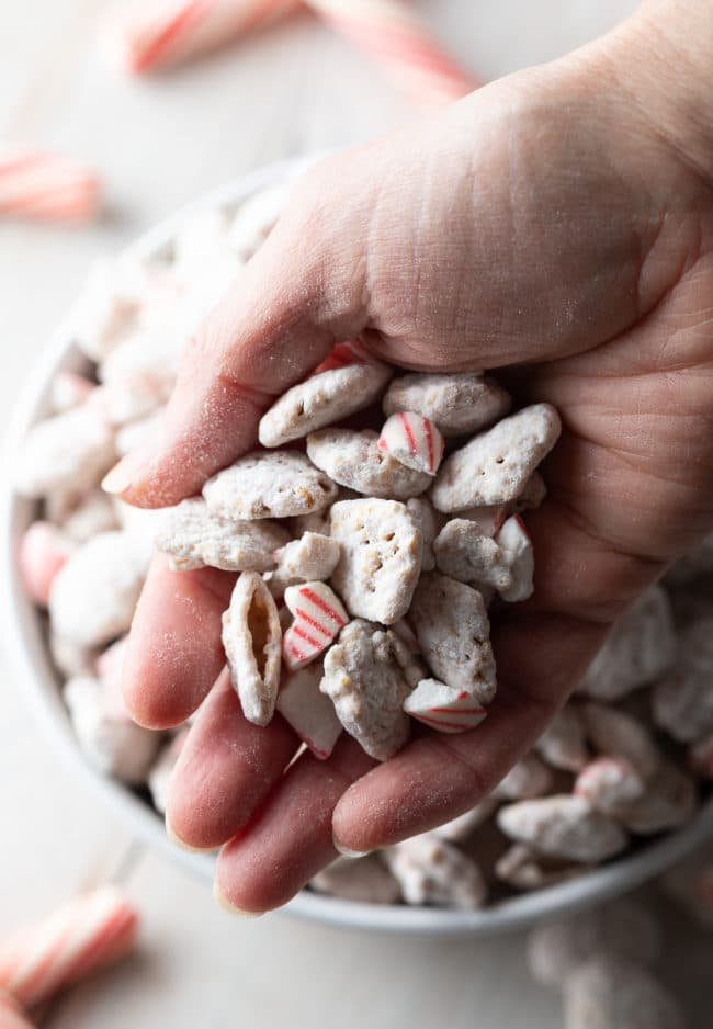 Easy Peppermint Muddy Buddy Recipe: How to Make Puppy Chow for the holidays! These Gluten-Free Muddy Buddies make great edible gifts! #ASpicyPerspective #muddybuddy #puppychow #ediblegifts #peppermint #muddybuddies #holiday #christmas