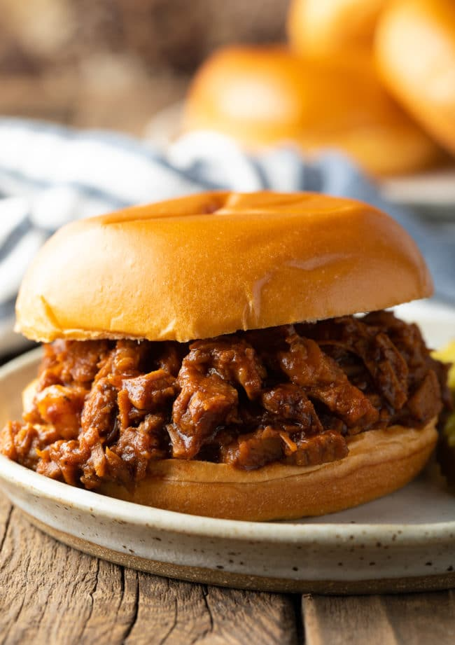 Slow Cooker Brisket Sandwiches (Texas BBQ Beef Recipe) #ASpicyPerspective #beef #brisket #bbq #texas #crockpot #slowcooker