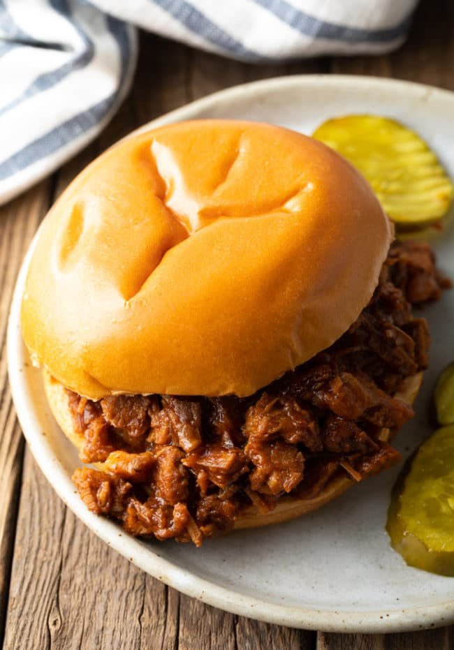 Crock Pot Brisket Sandwiches (Texas BBQ Beef Recipe) #ASpicyPerspective #beef #brisket #bbq #texas #crockpot #slowcooker