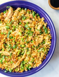 Keto Cauliflower Chicken Fried Rice Recipe #ASpicyPerspective #cauliflower #chicken #paleo #keto #lowcarb